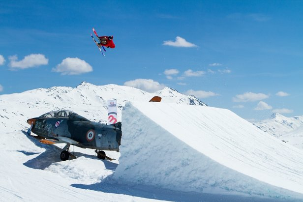 Freestyle boarder in Livigno, Italy.