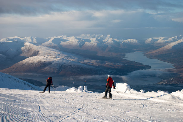 Heading off down the slopes at Nevis Range with an awesome view over Fort William  - © Charne Hawkes