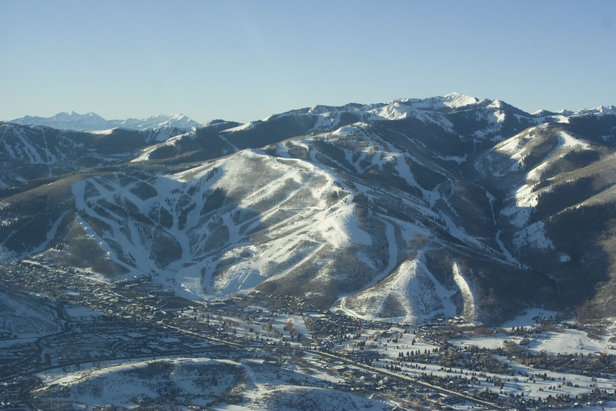 This aerial shot of Park City Mountain Resort shows Pine Cone Ridge on the right where the new Interconnect Gondola will link with Canyons.   - © Park City Mountain Resort
