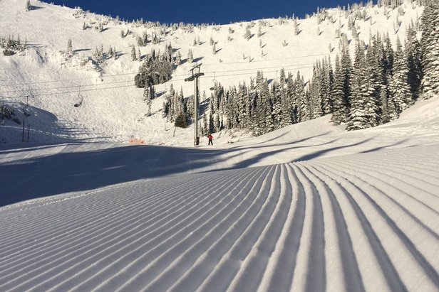 Powdery corduroy on Queens Run at Crystal Mountain Resort on Dec. 26, 2014.