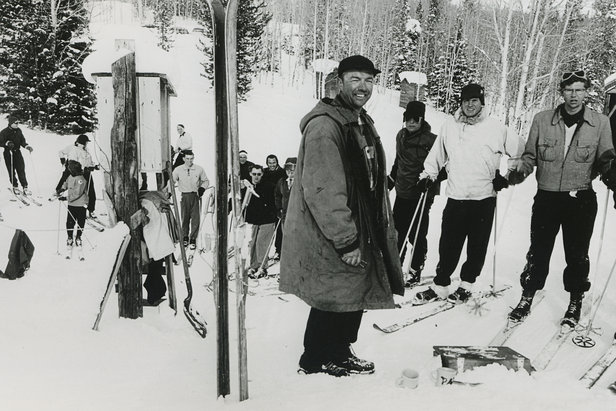 Harold Seeholzer operates the old T-bar in the early years at Beaver Mountain.  - © Beaver Mountain