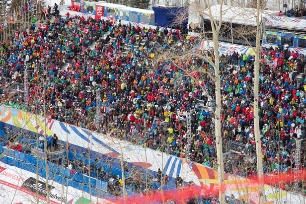 World Ski Championship bleachers are packed, as expected.