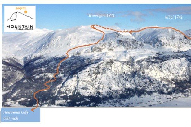 Her ser du hele løypa til Mountain Challenge Hemsedal. (Klikk på bildet)  - © Mountain Challenge Hemsedal