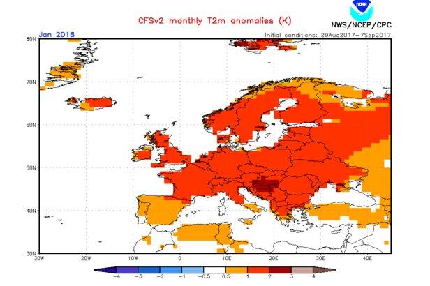 Model CFS: Prognoza odchylenia temperatur od średniej wieloletniej , styczeń 2018