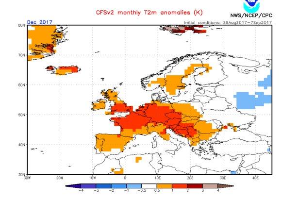 Model CFS: Prognoza odchylenia temperatur od średniej wieloletniej, grudzień 2017