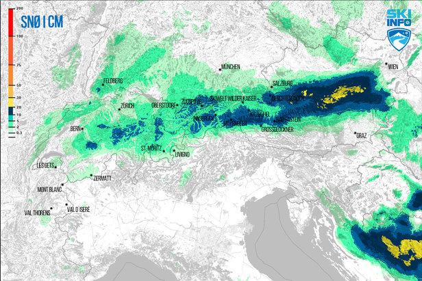 Snøvarsel for Alpene fra 19.04.2017 (06:30) og de neste 72 timene.  - © [c] ZAMG | Skiinfo