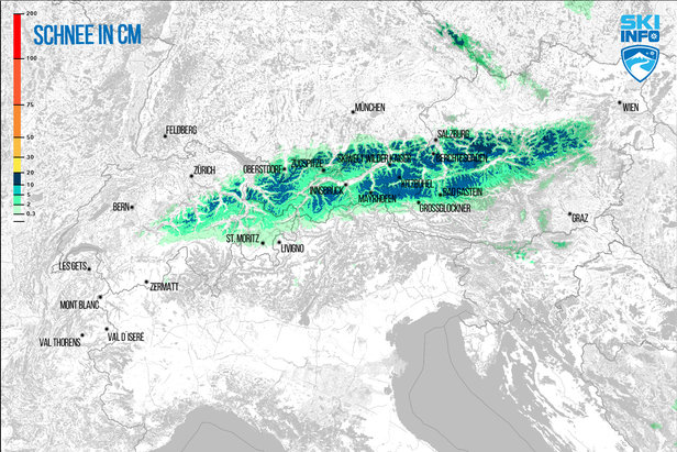 Schneevorhersage für Alpenraum vom 21.04.2017 (6:30 Uhr) für die nächsten 48 Stunden  - © [c] ZAMG / Skiinfo
