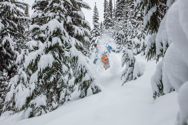 A snowboarder takes full advantage of Whistler Blackcomb's recent dump.