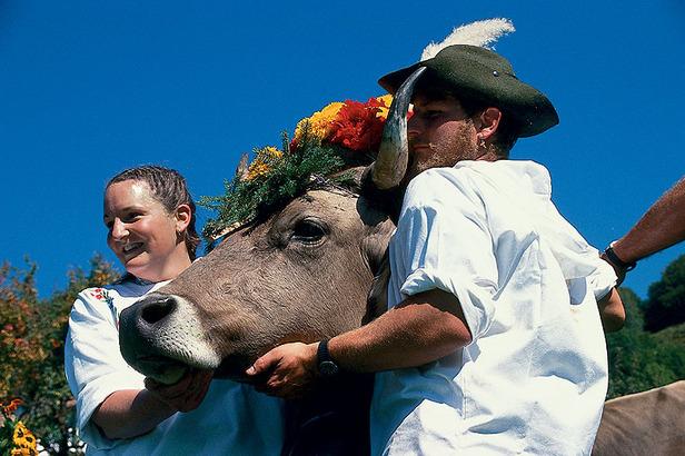 Älplerpaar mit Kuh