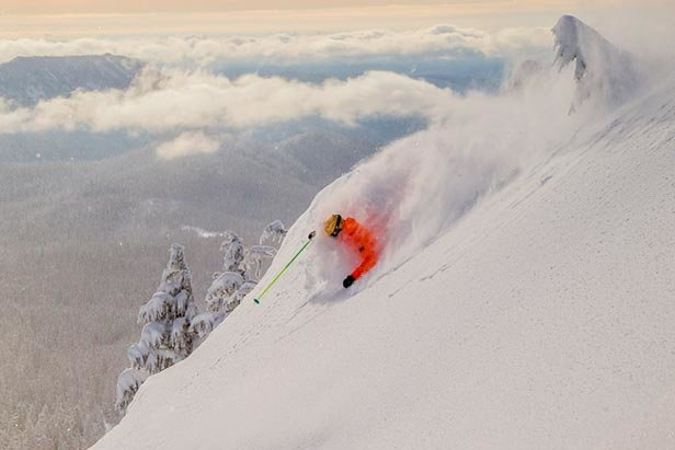 Glorious powder skiing on the side of a Oregon's most famous volcano