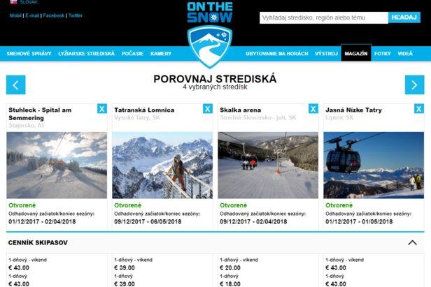 Nová pomôcka pre lyžiarov od OnTheSnow: Porovnávanie lyžiarskych stredísk ©OnTheSnow