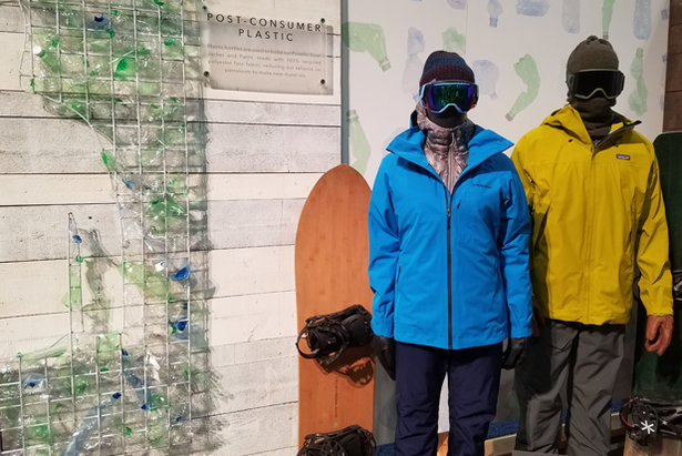 Patagonia's 100% recycled women's Powder Bowl and Men's Departer Jackets.  - © Heather B. Fried