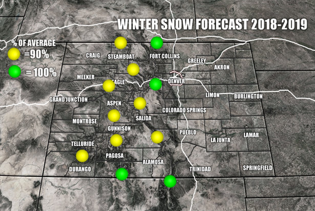 Winter snow forecast for Colorado, 2018/2019 ski season.  - © Meteorologist Chris Tomer