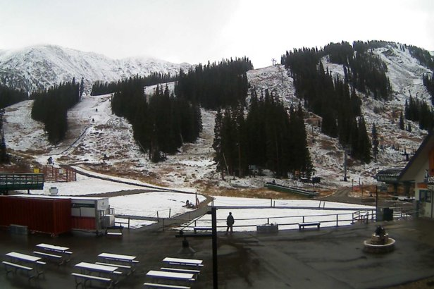 Arapahoe Basin's webcam the morning of October 8, 2018.