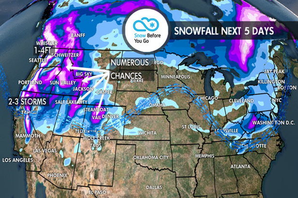 Holiday Hot Spots to See 1-4 Feet of Powder: 12.20 Snow B4U Go ©Meteorologist Chris Tomer