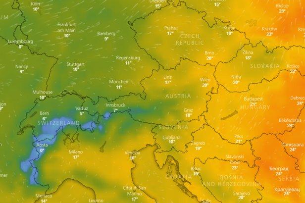 Předpověď počasí na 10 dní: Aktuální animovaná předpovědní mapa na nejbližší dny- ©repro z windy.com