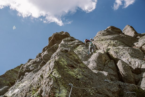 Found in Europe all over the Alps and Dolomites, Via Ferrata routes are just starting to appear in mountain towns across North America.  - © Peter Morning (Mammoth Mountain)
