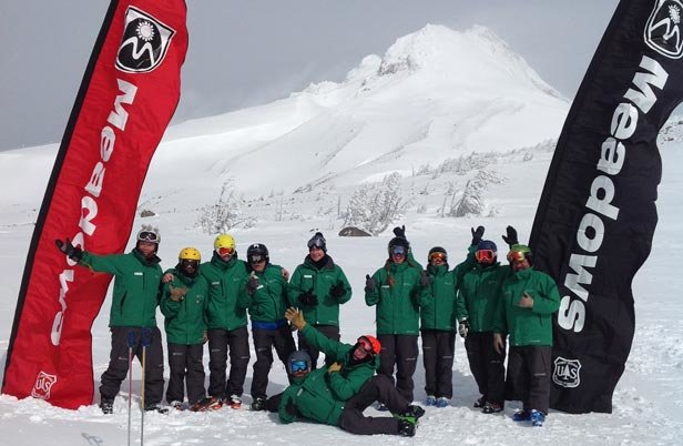 Instructors pose at a photo stop along the new Vista Experience trail at Mt. Hood Meadows