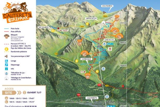 Plan des parcours VTT du Cauteret BikePark