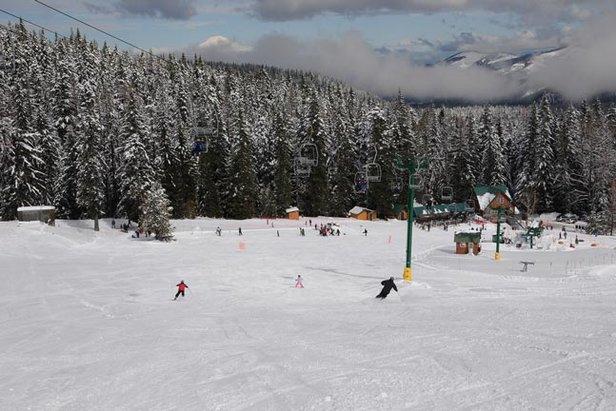 Enjoying one of the ten runs at Cooper Spur Ski Area