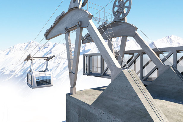 Die neue Bergstation der Falginjochbahn am Kaunertaler Gletscher