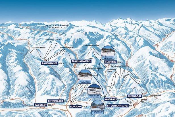 Übersichtskarte mit den neuen Stationen für die Saison 2020/2021  - © Snow Space Salzburg Bergbahnen AG