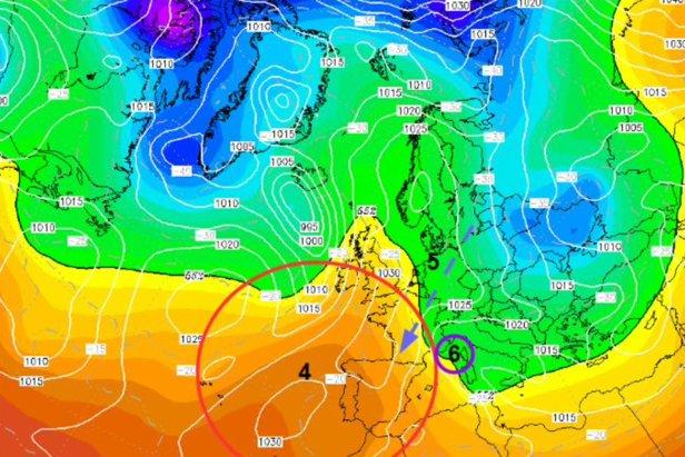 Carte 2 issue du modèle GFS : projection pression 500hpa vendredi 15 janvier 2021 à 18h  - © wetterzentrale.de – Image retouchée par Allan CROUVIZIER