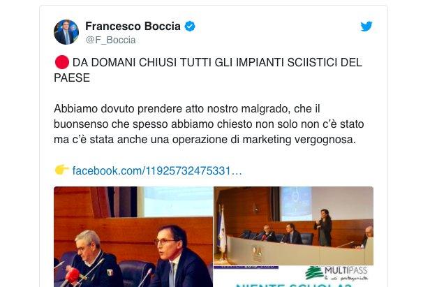 Il ministro Boccia twitta la chiusura ufficiale degli impianti sciistici italiani