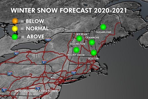 Northeastern ski resorts should benefit from the La Nina weather pattern.   - © Chris Tomer