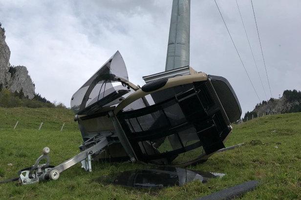 Zerwana gondola w  Rickenbach (Rotenfluebahn)