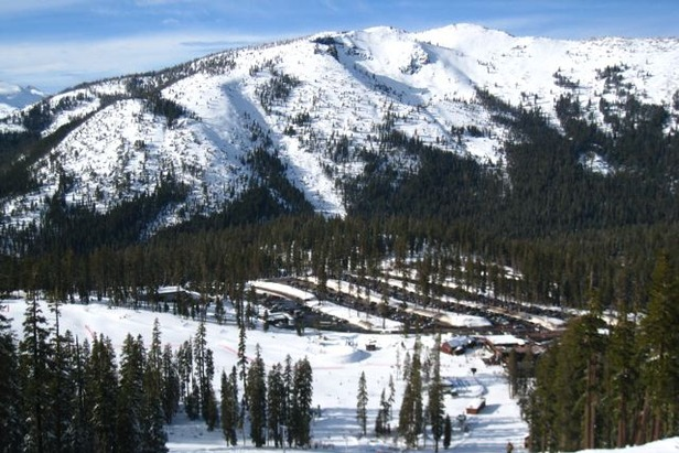 Tree-lined piste, Sierra-at-Tahoe, CA
