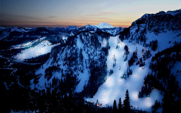 Slopes on the Summit at Snoqualmie lit up for night skiing