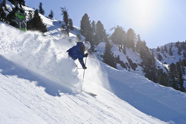 A skier enjoys powder at Mayrhofen.