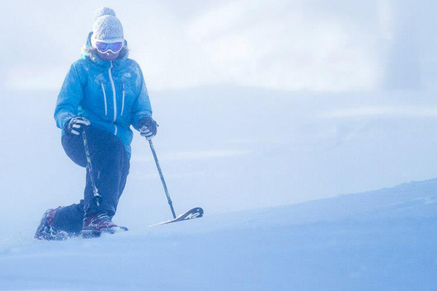 A skier enjoys opening day at Killington Resort