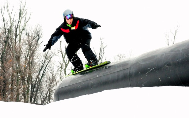 Young snowboarder at Mad River Mountain in Ohio