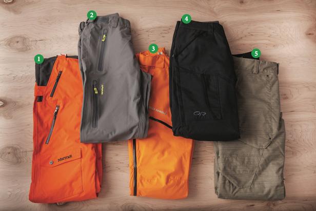 Men's Pants: 1) Marmot Rosco Bib; 2) Dakine Clutch Pants; 3) Helly Hansen Verglas Randonee Pant; 4) Outdoor Research Blackpowder Pants; 5) Obermeyer Yukon Pant