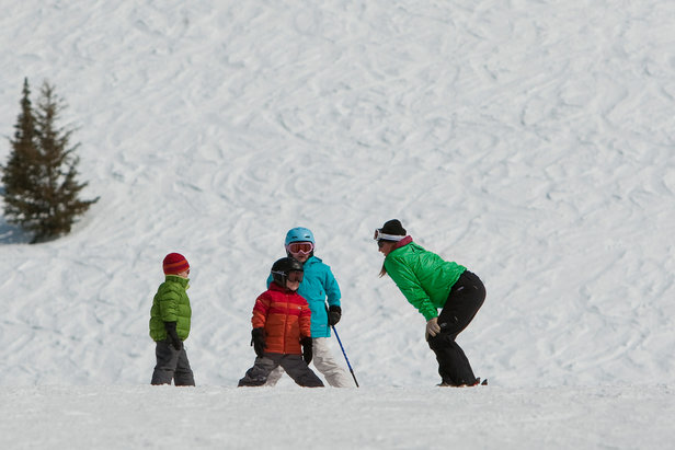 Kids lessons at Grand Targhee. Photo courtesy of Grand Targhee Resort.