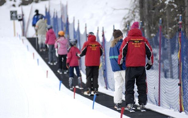 The learning carpet at Nakiska ski area in Alberta. Photo courtesy of Resorts of the Canadian Rockies.