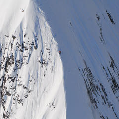 Dean Cummings' first descent of Dragon's Back spine on Meteorite Mountain filming for The Steep Life  - © Eric Layton
