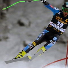 Nyman on track to win the 2012 downhill in Val Gardena, Italy. - © Mitch Gunn