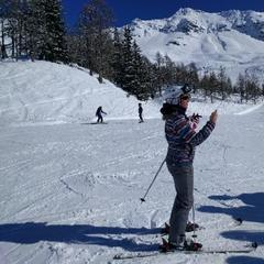 Sainte Foy Tarentaise - lovely snow. off piste slightly icy towards the end of the week, but fab overall.