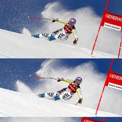 Maria Riesch zeigt in Perfektion, wie man einen schnellen Schwung auf der Kante fährt - © Alexis BOICHARD/AGENCE ZOOM