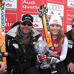 Lindsey Vonn mit Trainerstab - © US-Skiteam