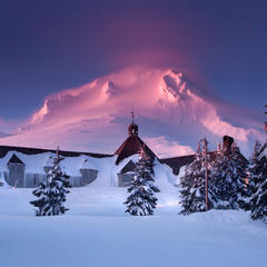 Snow-buried Timberline Lodge sits on Mt. Hood - © Timberline Lodge.