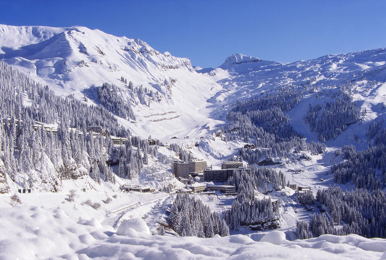 A powder-filled Flaine in Le Grand Massif, France.