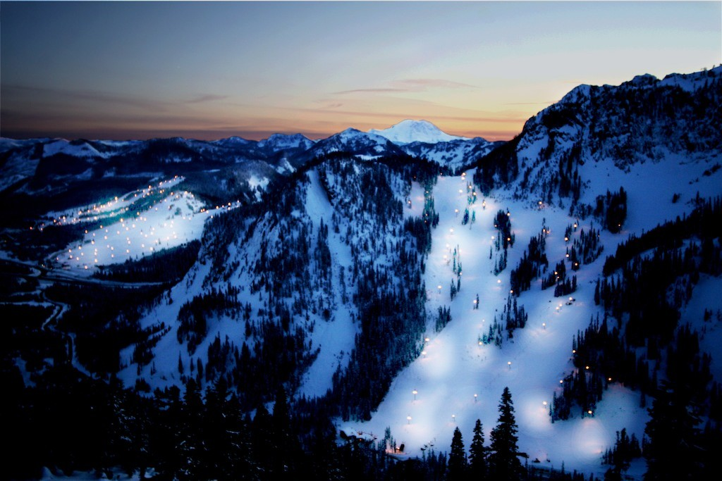 Slopes on the Summit at Snoqualmie lit up for night skiingundefined
