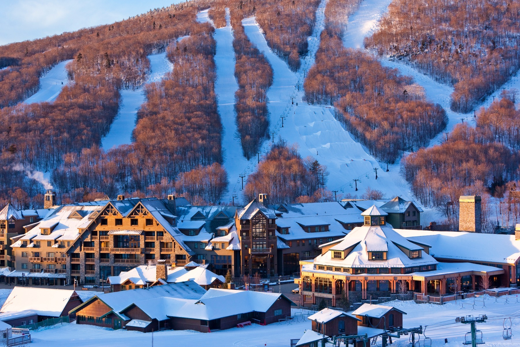Stowe Mountain Lodge sits at the base of Spruce Peak for ski in/out access.