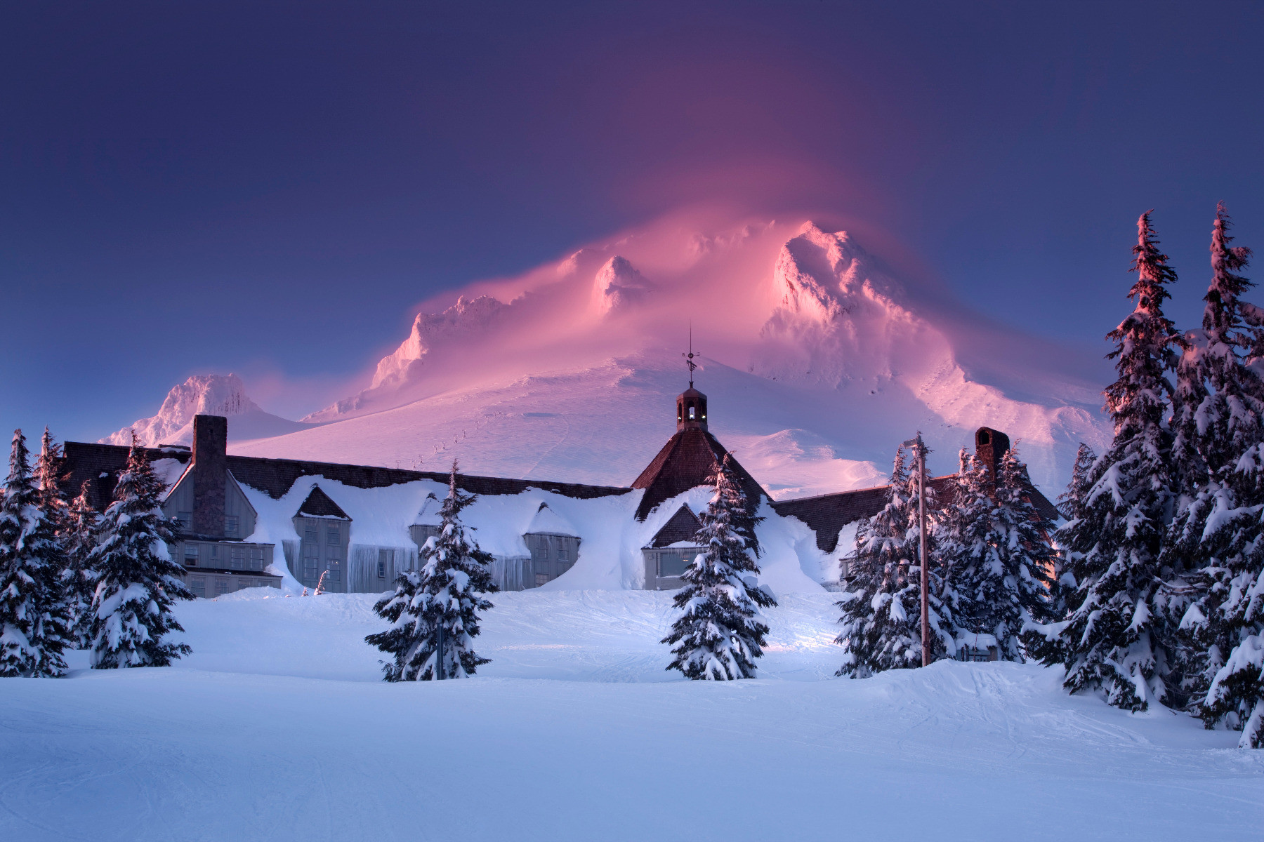 Snow-buried Timberline Lodge sits on Mt. Hood