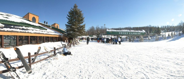 Panorama of Michigan's Bittersweet Ski area base.undefined